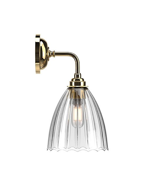Clear Ribbed Glass Bathroom Wall Light Ip44 Ledbury