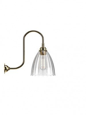 Ledbury Ribbed Glass Swan Neck Wall Light