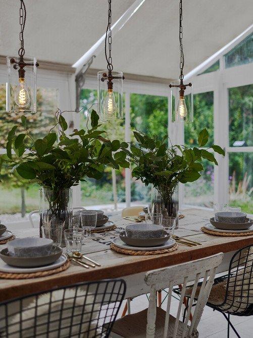 Clear glass lantern sellack industrial modern retro - Modern dining room wall decor ...