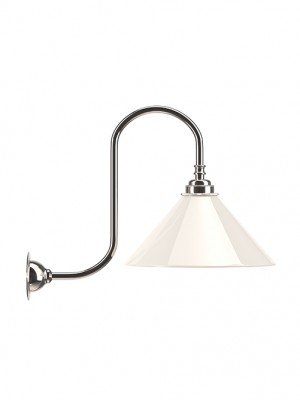 The Hay white coolie shade on swan neck wall light