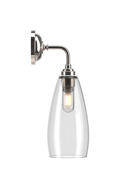 Contemporary Bathroom Wall Light With Clear Upton Glass Shade