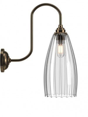 Upton Ribbed Glass Swan Neck Bathroom Light
