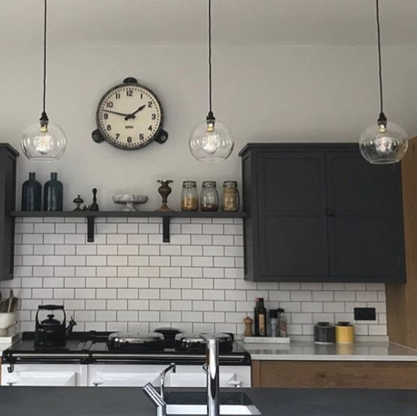 Monochrome kitchen feat clear hereford pendant lights